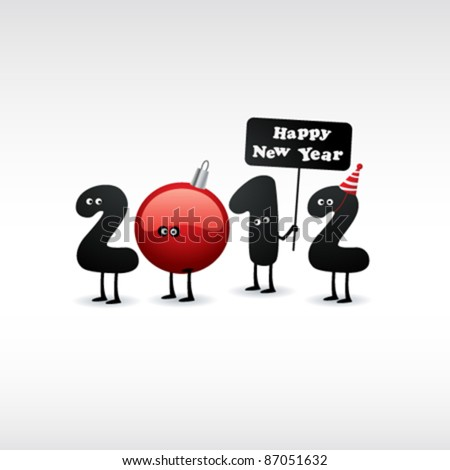 Funny New Year's Eve greeting card. 2012.