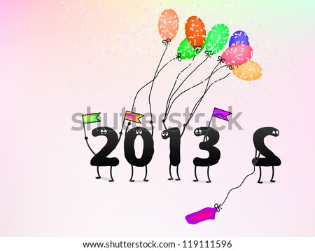 Funny 2013 New Year's Eve greeting card. + EPS8 vector file