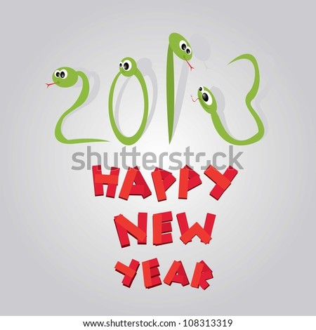 Funny New Year's Eve greeting card with snake. happy new year vector illustration.