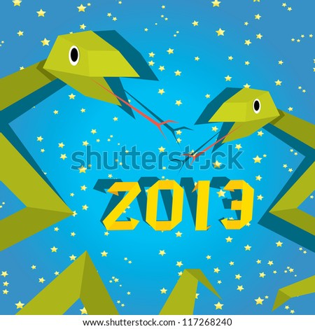 Funny New Year's Eve greeting card with snake. happy new year vector illustration. Year of snake.