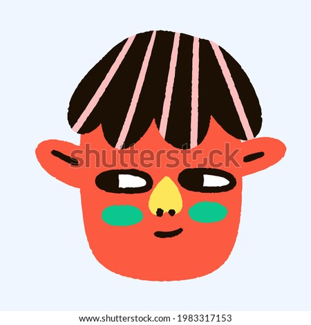 funny non-binary face - bizarre childish hand drawn style.African American ethnic avatar. Funky groove portrait.Psychedelic woman or man avatar with.Body Neutrality.Fashionable flat head sticker. Stock fotó ©
