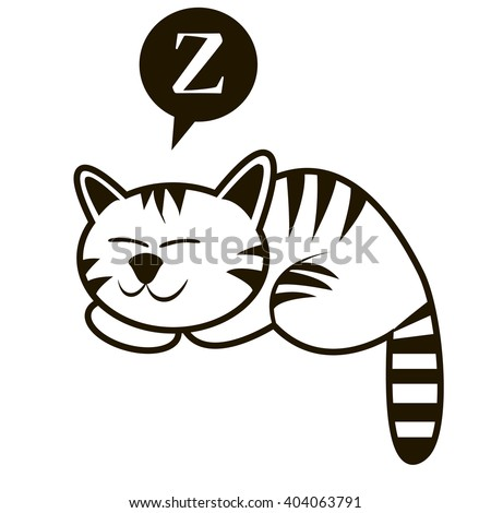 funny outline sleeping cat