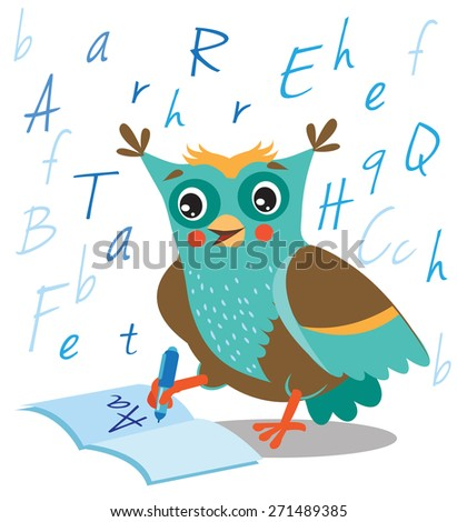 funny owl learn to write in a