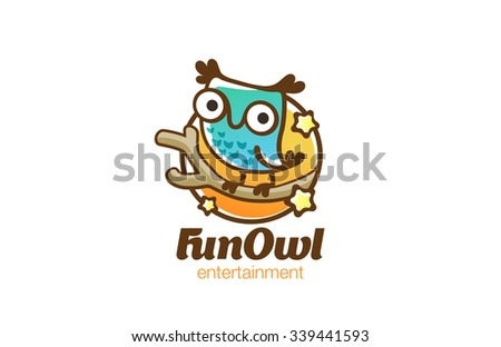 funny owl sitting on branch