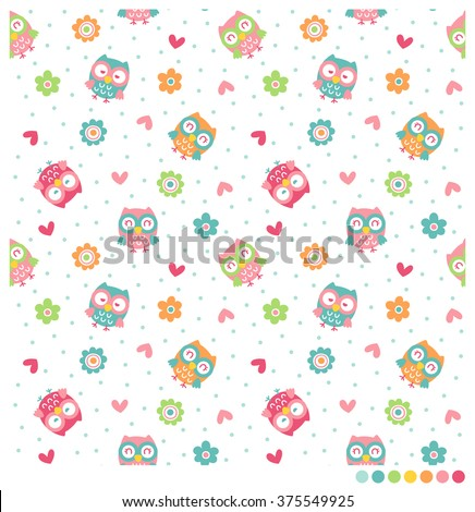 Funny owls seamless vector pattern with flowers and heart