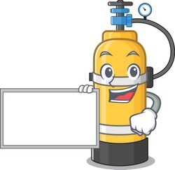 Funny oxygen cylinder cartoon character design style with board