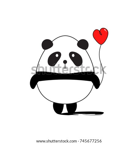 funny panda with red heart