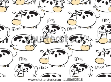 Funny pattern with childish animals. Vector clip-art cows. Seamless texture