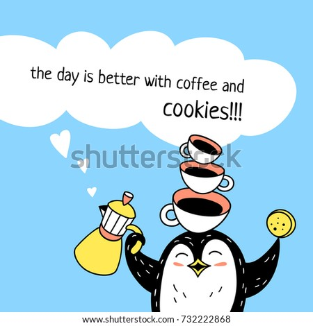 funny penguin balances coffee