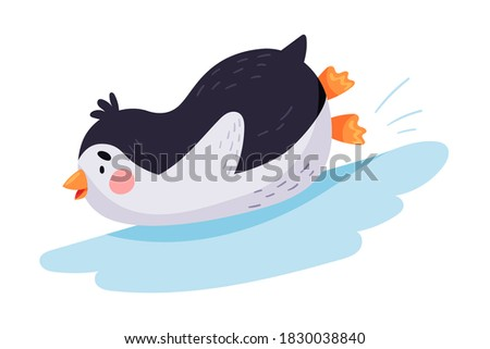 Funny Penguin Sliding Down the Ice Hill Vector Illustration Stockfoto ©