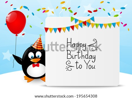 Funny penguin with Birthday banner