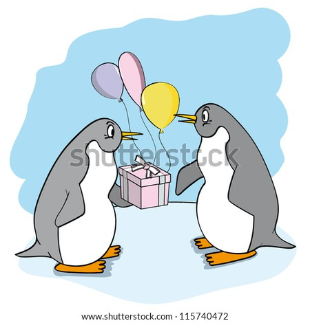 funny penguin with gift and balloons.