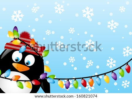 Funny penguin with light bulbs