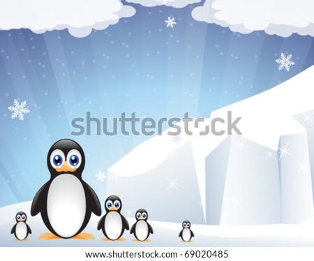 Funny penguins near the sparkling iceberg