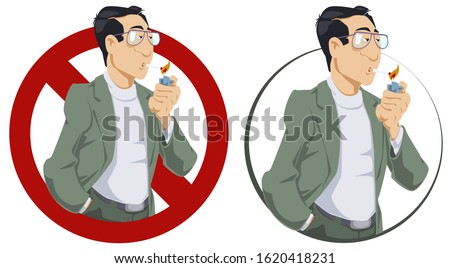 Funny people. Man lights cigarette. No smoking sign.