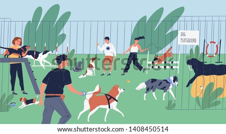 Funny people playing with dogs at playground, yard or park. Happy men and women training domestic animals outdoors. Owners walking with their playful pets. Flat cartoon colorful vector illustration.