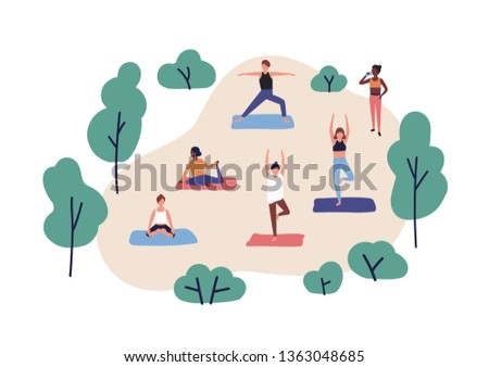Funny people practicing yoga in park. Group of cute men and women performing gymnastic exercise outdoor. Aerobics training, fitness or sports activity. Flat cartoon colorful vector illustration.