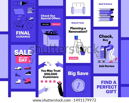 Funny people shop online and interacting with devices. E-commerce and online shopping. Flat vector illustration. Mobile application templates, screens, online ads.