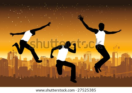 Funny peoples, urban life - stock vector