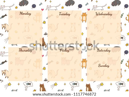 funny personal weekly planner for time management template with seamless cute cats pattern on background