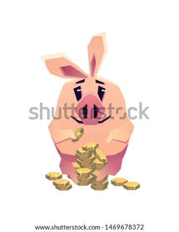 Funny pig counting coins. financial symbol. Vector 2D illustration
