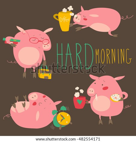 funny pigs about hard awaking