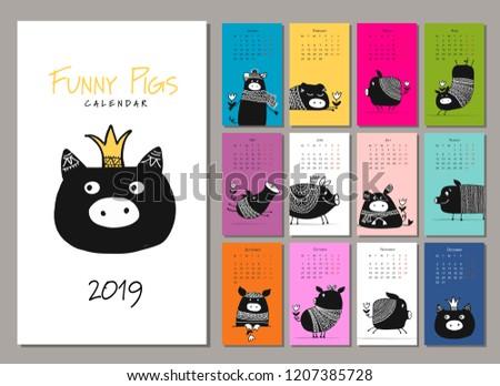 Funny pigs, symbol 2019. Calendar design