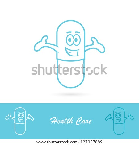 funny pill character   vector