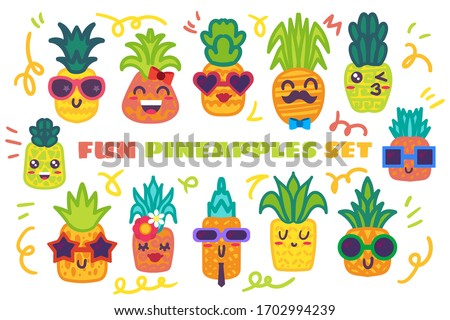 funny pineapple hand drawn