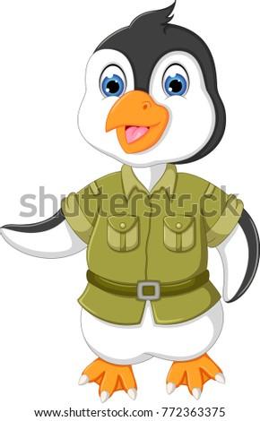 funny pinguin cartoon standing