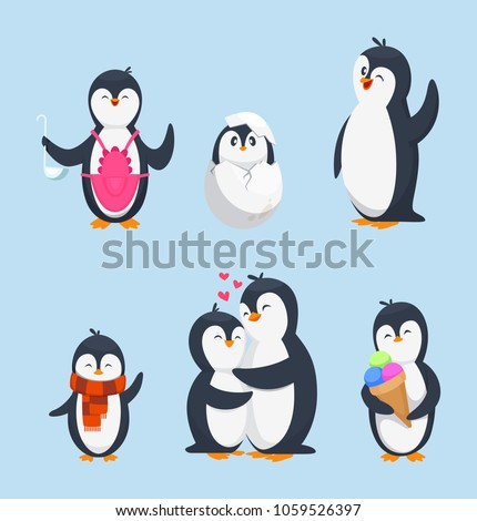 Funny pinguins in different action poses. Cartoon mascots isolate. Penguin animal bird character, happy penguin. Vector illustration Stockfoto ©