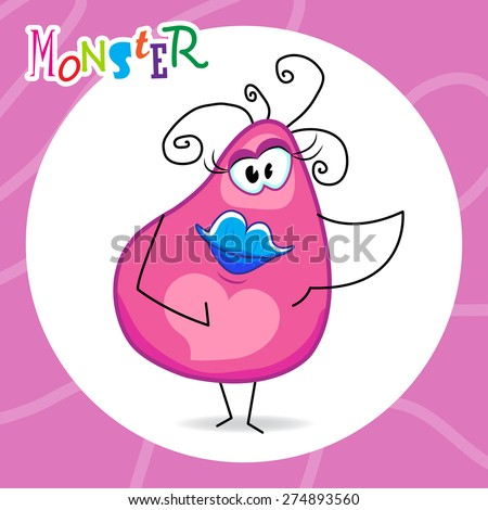 funny pink monster female with