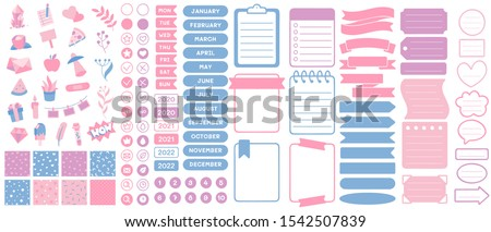 Funny planners stickers. Scrapbook sticker, planner print and cute journal card. School notebook tags, memo page labels or organizer sticky doodles. Isolated illustration vector signs set