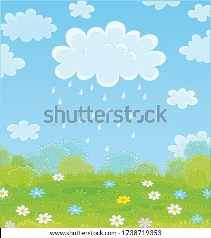 funny plump rain cloud with