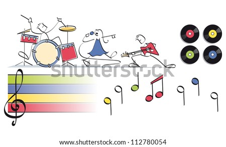 funny pop group with drums, vocals and guitar