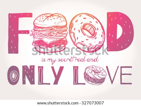funny poster doodle style food
