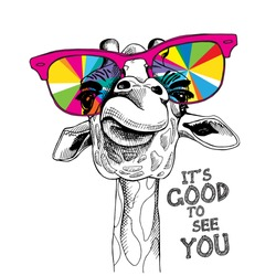Funny poster. Portrait of a Giraffe in a bright coloring glasses. Vector illustration.