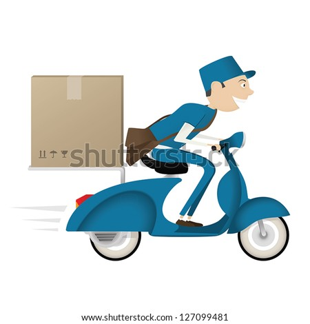 Funny postman delivering package on blue scooter isolated on white background