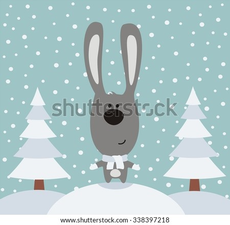 funny rabbit in winter on