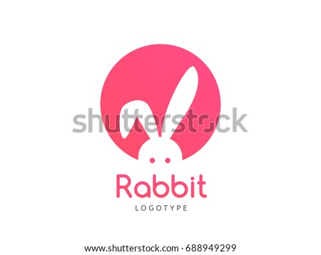 Funny Rabbit Logo concept. Cute Rabbit in circle Sign design. Toy store logotype icon template. Creative Vector element