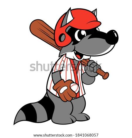 Funny Raccoon Cartoon Characters wearing baseball helmet and jersey while carrying baseball bat and gloves, Full baseball games equipment, best for baseball club mascot or t-shirt design