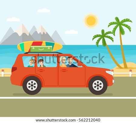 funny red car with surfboard