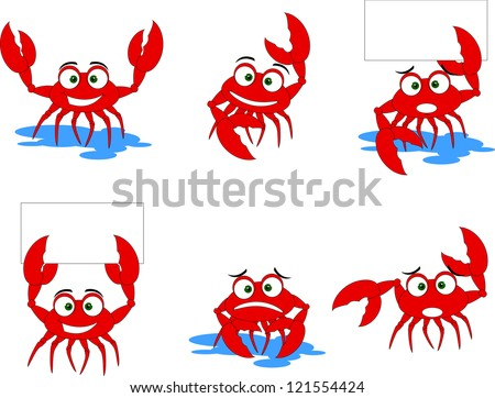 funny red crabs characters
