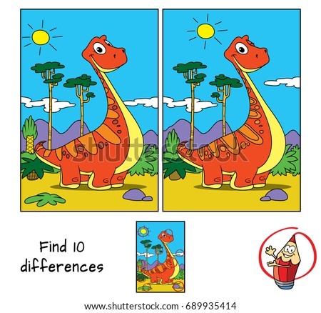 Funny red dinosaur. Find 10 differences. Educational game for children. Cartoon vector illustration