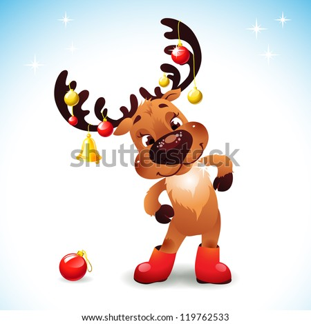 Funny reindeer christmas Cute Santa Reindeer with Bow Bell and christmas balls