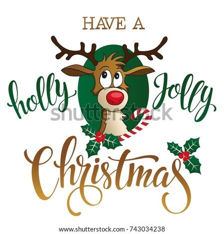 Funny Reindeer on white background. Vector illustration.
