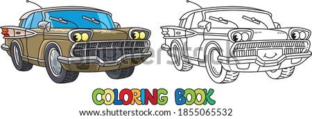 funny retro car with eyes