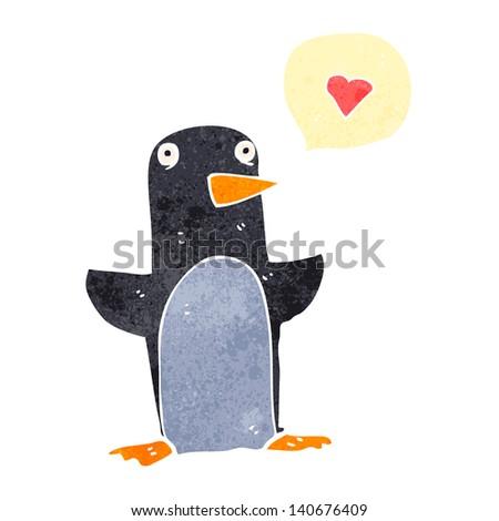 funny retro cartoon penguin