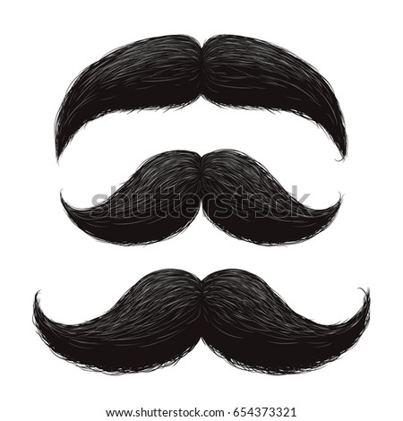 Funny retro hair mustaches vector set. Mustache vintage facial, funny curly black mustache illustration