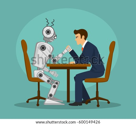 funny robot and businessman arm